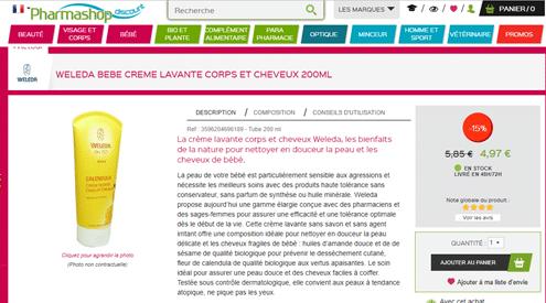 Site pharmashopdiscount, exemple d'un produit weleda