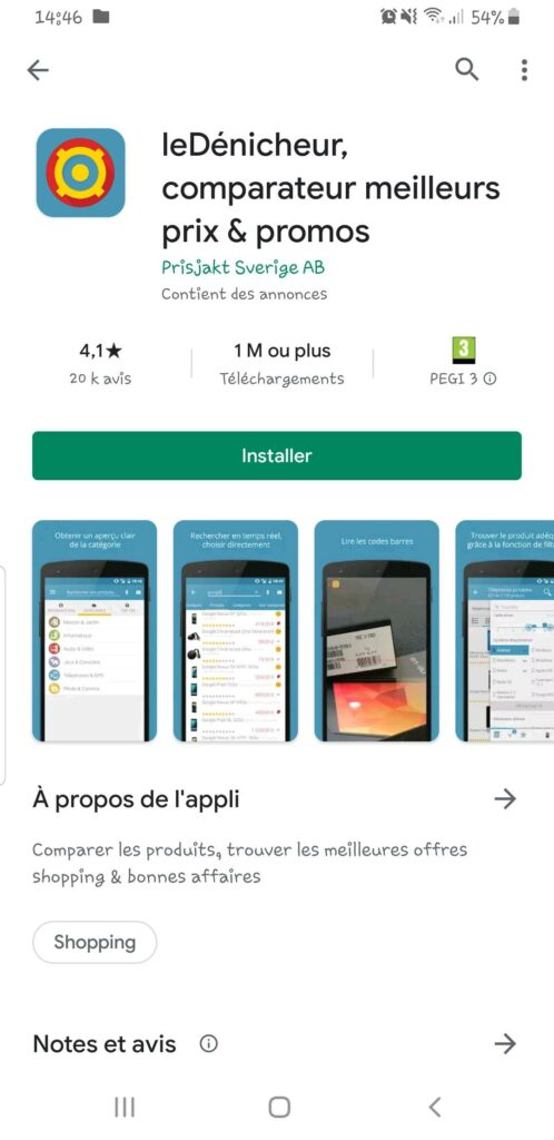 application mobile le dénicheur