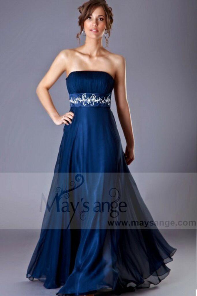 robe de soiree longue coeur discret bleue